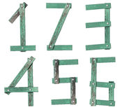 Old Grunge Wooden Alphabet number Royalty Free Stock Images