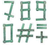 Old Grunge Wooden Alphabet number Stock Photos