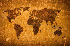 Old grunge world map. On canvas Royalty Free Stock Photo