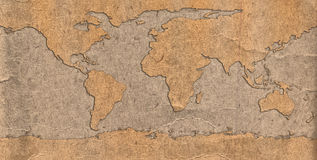 Old Grunge World Map Stock Photos