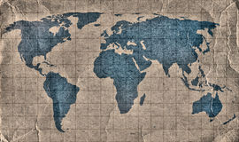 Old Grunge World Map Stock Photo