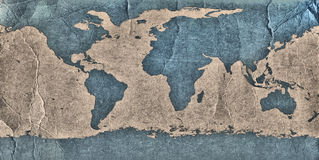 Old Grunge World Map Stock Photography