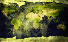 Old, grunge world map Stock Image