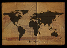 Old grunge world map Stock Images