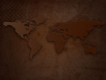 Old Grunge World Map. Abstract Brown Old Grunge World Map Royalty Free Stock Image