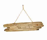 Driftwood wooden sign board on string Royalty Free Stock Photography