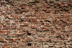Old grungy background of a brick wall texture Stock Images