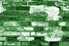 Free Old Grungy Brick Wall Surface In Green Tone Stock Images - 144287464