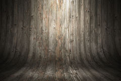 Old grungy curved wooden background. 3d rendering illustration Stock Images