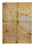 Old grungy folded paper. With water stains - digital illustration Royalty Free Stock Photo