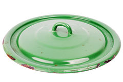 Old grungy green cooking pot lid Stock Image