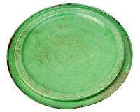 Old grungy green cooking pot lid Stock Photo