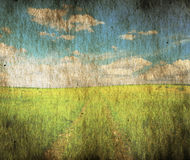 Old grungy illustration. Country road in the fields Royalty Free Stock Photo