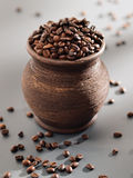 Old grungy pot full of roasted coffee beans. Stock Images