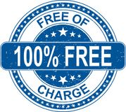 Blue 100% free of charge rubber stamp internet sign on white bac. Old grungy rubber stamp on white background royalty free illustration