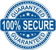 Blue guaranteed 100% secure rubber stamp internet sign on white. Old grungy rubber stamp on white background Royalty Free Stock Image