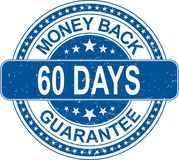 Blue money back 60 days guarantee rubber stamp internet sign on. Old grungy rubber stamp on white background stock illustration
