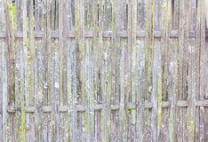 Old grungy thai handcraft of bamboo weave pattern fence Stock Photography
