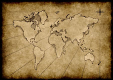 Old grungy world map Royalty Free Stock Images