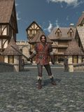 Old Guard. Old and scarred guardsman standing on the bridge leading to a Medieval or fantasy town, 3d digitally rendered illustration Royalty Free Stock Photography