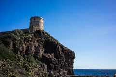 Old guard tower. Military guard tower on a rock Royalty Free Stock Images