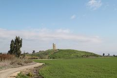 Old Guard Tower, Valley of Springs Park, Israel. Historic building of old guard tower post on a hill at Valley of Springs Park, Israel stock photography