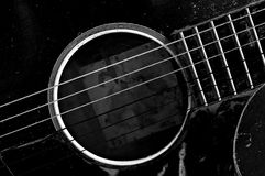 Old guitar black and white Stock Photography