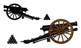 Old gun. Ancient cannon on the gun carriage. Vector illustration Stock Images