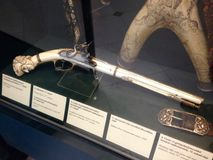 Old gun. Exhibits on The Hungarian National Museum national museum for the history, art and archaeology of Hungary, including areas not within Hungary's modern Stock Photo