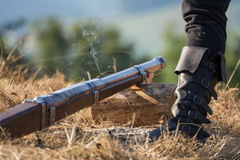Old Gun is fired Royalty Free Stock Photo