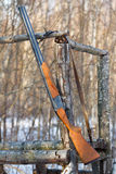 Old gun on hunting tower Royalty Free Stock Images