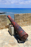 Old gun in Larnaka Medieval Castle Stock Photography