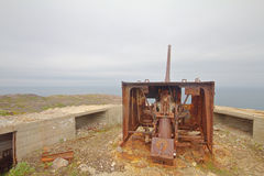 Old gun on the shores of the Scandinavian sea Stock Image
