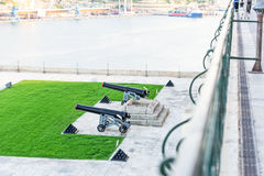 Old gun in Valletta and Fort St Angelo of La Vittoriosa in Malta Stock Images