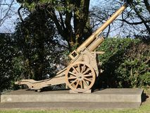Old gun of World War I in open-air museum Stock Photo