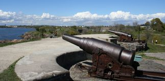 Old guns. In Sveaborg fortress near Helsinki Stock Photo