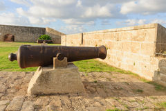 Old Guns on Acre Walls. Old guns on the city wall of Acre, Israel Stock Photos