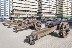 Old Guns at the Al Hisn Fort in Sharjah, UAE Stock Photo