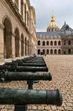 Old guns at the court of Army Museum, Paris. France Stock Image