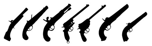 Old guns silhouette. Seven old guns silhouette collection over white background Royalty Free Stock Photo