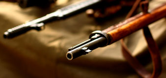 Old guns. Old vintage  weapons rifle guns historical war retro military background Royalty Free Stock Image