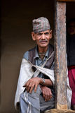 Old Gurung Sherpa in the Himalaya. Nepal. GHANDRUK - OCT 6: Portrait of an old Gurung Sherpa. Gurungs are the biggest ethnic group in the Himalaya and a part of Stock Photos