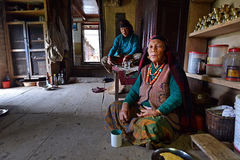 Old Gurung women in traditional clothes Stock Photos