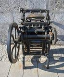 Old Gutenberg`s printing press. On street in Ljubljana stock images
