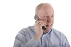 Old Guy In Blue Shirt On Cell Phone Stock Images