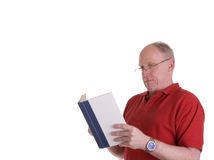 Old Guy in Red Shirt Reading Book Stock Photo