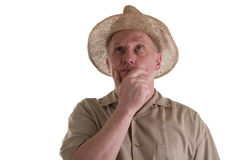Old Guy in Straw Hat Looking Up Stock Photography