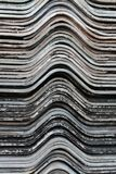 Old gypsum roofing sheets overlap for background.photo.  Royalty Free Stock Images