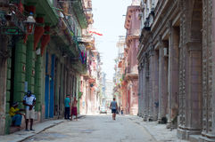 Old Habana street. Neglected old buildings in old Havana Royalty Free Stock Images