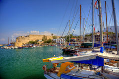 Old habour in Cyprus. Harbour and medieval castle in Kyrenia, North Cyprus Royalty Free Stock Photos
